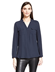 Autograph No Peep™ Notched V-Neck Blouse