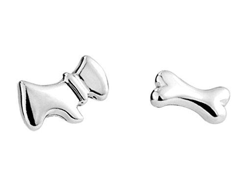 Sterling Silver Dog&the bone Stud Earrings - 1