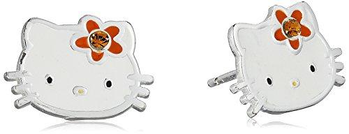 Hello Kitty Girls' Sterling Silver Birthstone Crystal Stud Earrings