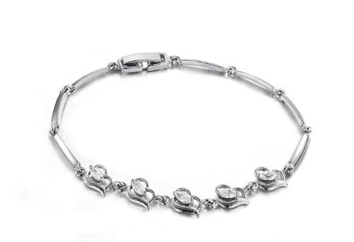 JewelryWe Hot Fashion Platinum Plated Silver Tone Cubic Zirconia Flower Bracelet Bangle Chain For Ladies