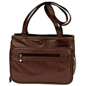 Roma Brown Leather Organizer Handbag Bag Purse