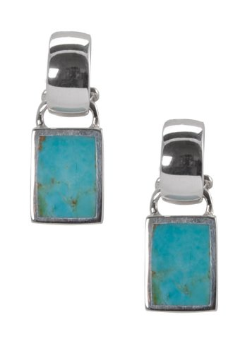 Barse Sterling Silver Inlaid Turquoise Hoop Earrings