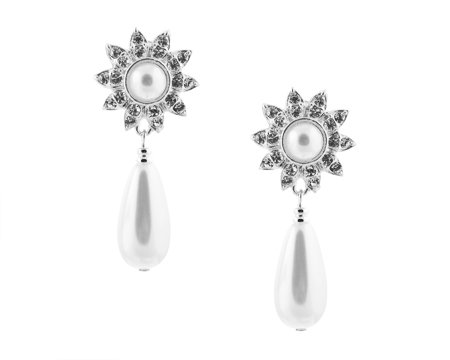Teardrop White Pearl Clip On Earrings with Sun Shape - ClipOn Wedding Jewelry