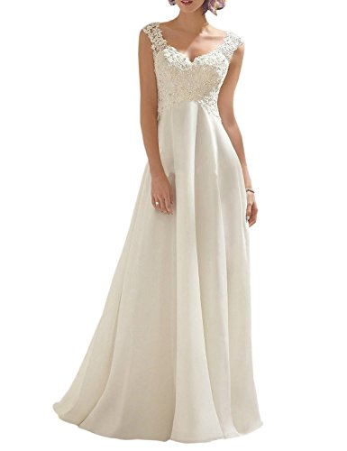 AbaoWedding Women's Summer Style Sleeveless Lace Wedding Dress Long White Tube Dress (size8)