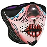 Zan Headgear Half Mask, Neoprene, Sugar Skull Reversible to Purple WNFM082H