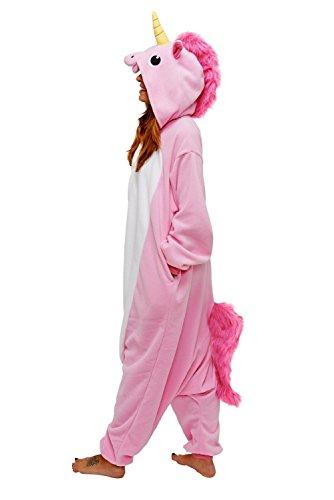 Adulte-Unisexe-Animal-Costume-Cosplay-Combinaison-Pyjama-Outfit-Nuit-Fleece-Halloween-New-Unicorn-Pink