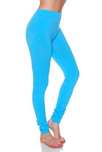 Sofra Women's Full Ankle Length Seamless Leggings (Ankle Length, Aqua) (Light Blue Leggings compare prices)