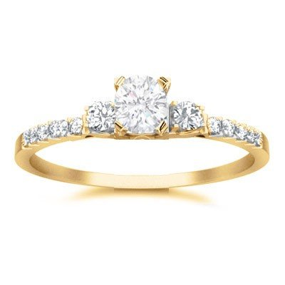 0.58 Carat Affordable Engagement Ring with Round cut Diamond on 18K Yellow gold