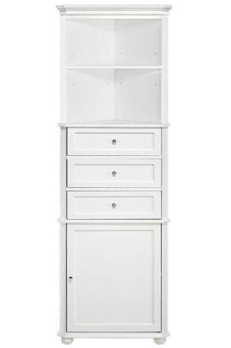 Hampton Bay Corner Linen Bath Cabinet I, 3-DRAWER, WHITE