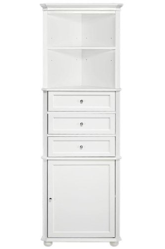Hampton Bay Corner Linen Cabinet I, 3-DRAWER, WHITE (Linen Cabinet Corner compare prices)