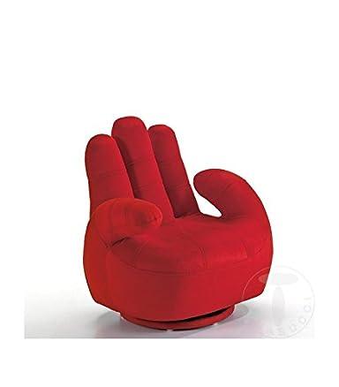 Poltrona per bambino a forma di mano - rosso