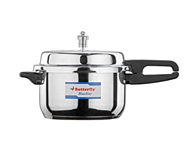Butterfly BL-5L Blue Line Stainless Steel Pressure Cooker, 5-Liter from Gandhi - Appliances