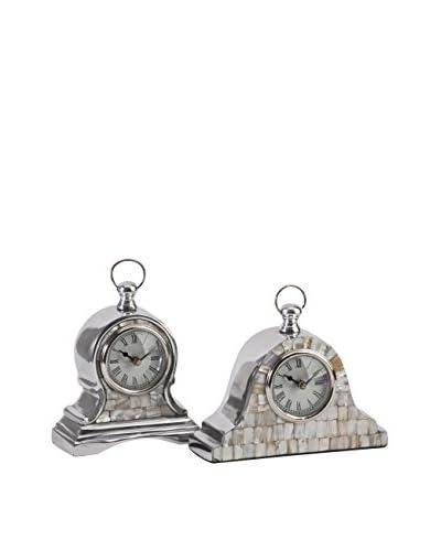 Aluminum Mother of Pearl Clock - Set of 2, 7.5X2.75X8.25