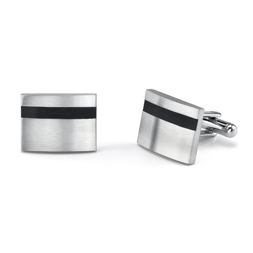 Peora Refined Style: Surgical Stainless Steel Rectangular Brushed Finish Cufflinks for Men with Black Rubber
