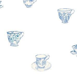 Kitchen concepts teacup wallpaper blue diy for Blue kitchen wallpaper