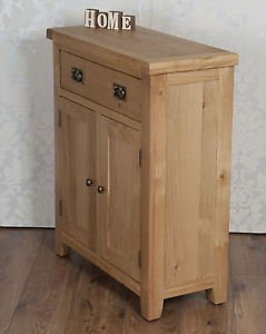 Classically Modern Chunky Solid Oak Harrogate Natural Slim 2 Door Drawer Sideboard Cabinet Cupboard