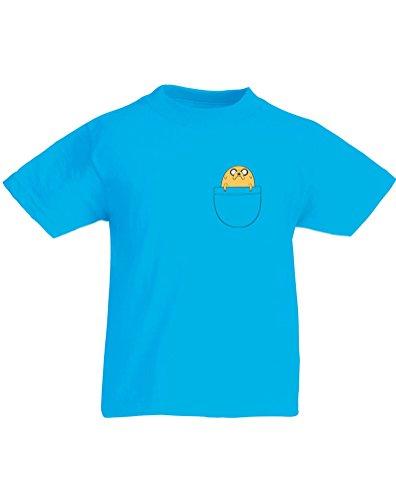 Pocket Jake, Kids Printed T-Shirt - Azure/Transfer 7-8 Years front-256362