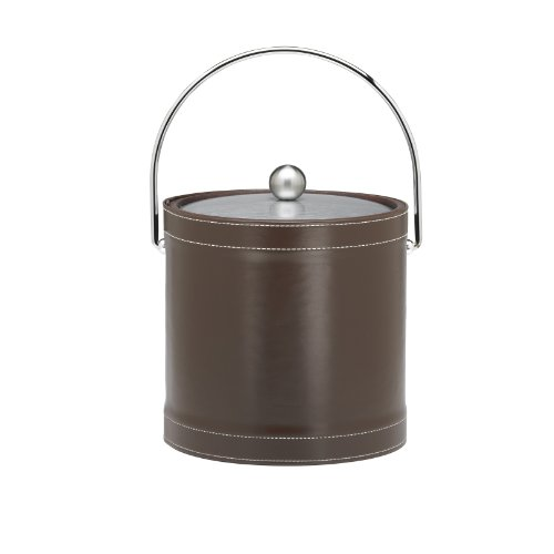Kraftware Ice Bucket With Chrome Lid And Bale Handle, Chocolate - 3 Quart