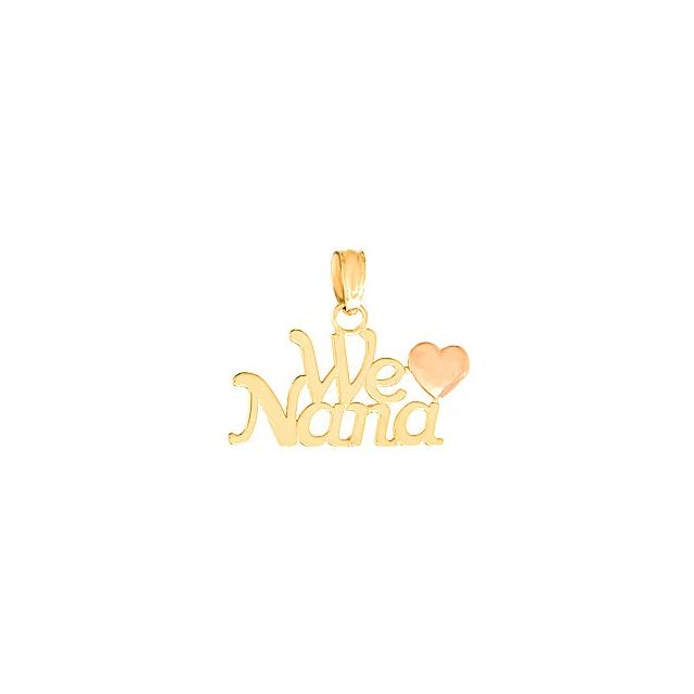 14k Yellow Gold Talking Charm Pendant, We Love Nana with Pink Heart