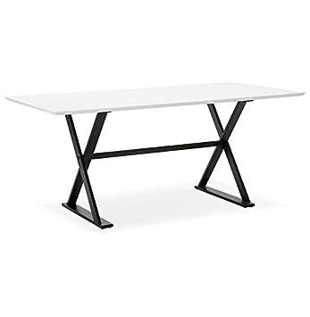 Alterego - Table à diner / bureau design 'HAVANA' en bois blanc - 180x90 cm