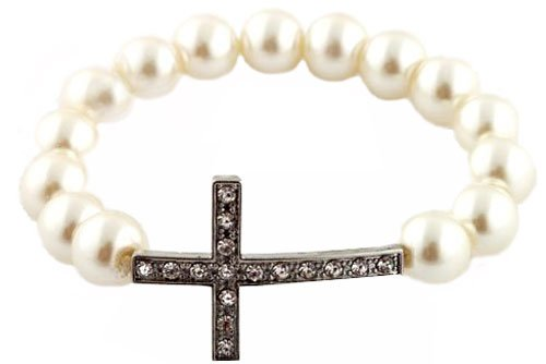 Ivory  Silver Iced Out Cross Pearl Style Shamballah