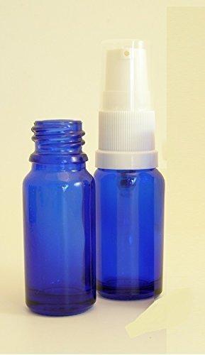 1 x Bouteille D'Aromathérapie Qualité Premium 10ml Verre Bleu avec Pompe à Sérum Blanche