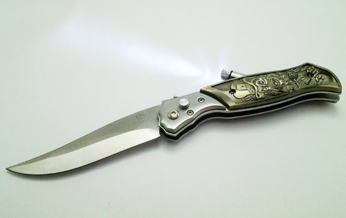 Skull Pattern Knife, Stainless Steel Folding Blade With Flashlight In Spring Assisted Pocket Knife