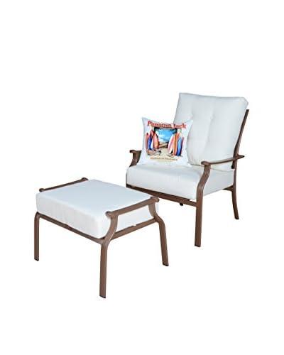 Panama Jack Island Breeze Deep Seating Lounge Chair With Ottoman & Cushions, Espresso
