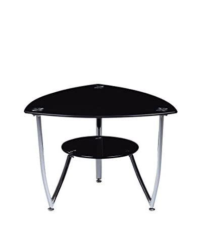 Luxury Home Tempered Glass End Table, Black
