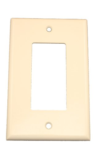 Leviton 80601-T 1-Gang Decora/GFCI Device Decora Wallplate, Midway Size, Thermoset, Device Mount, Light Almond