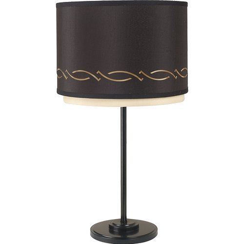 Royce Lighting Highland Park Collection Table Lamp, Gloss Black Finish with Black and Cream Hardback Shade, 12-Inch by 12-Inch by 24-Inch