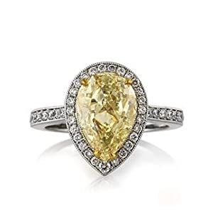 Mark Broumand 3.58ct Fancy Light Yellow Pear Shaped Diamond Engagement Anniversary Ring by Mark Broumand