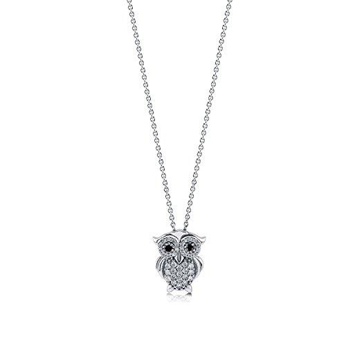 [ジュエリーキャッスル] Jewelry Castle ネックレス 幸せを運ぶ Owl(フクロウ)モチーフ パヴェセッティング ネックレス (ペンダント)