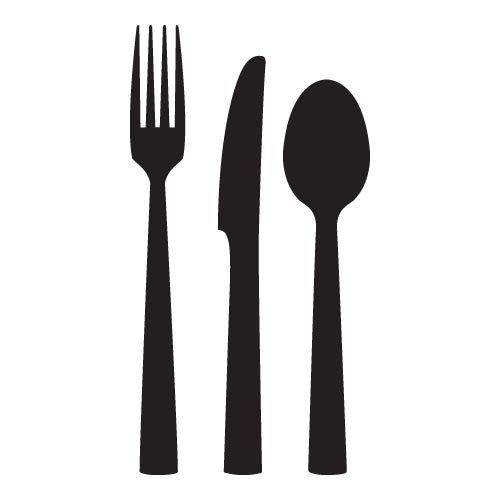 Knife Fork And Spoon Wall Sticker 2 - Vinyl Sticker Wall Art Deco Decal - 50Cm Height,50Cm Width - Black Vinyl