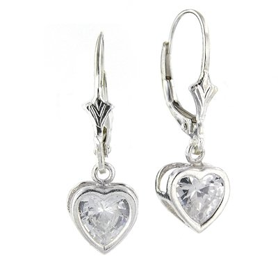 Sterling Silver Leverback Cz Heart Earrings