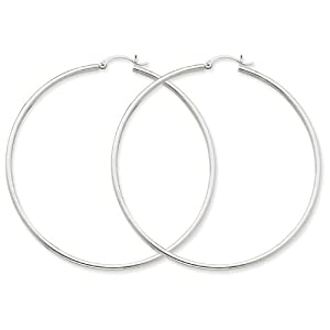 14K White Gold Lightweight Hoop Earrings
