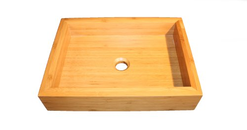 Rectangular Bamboo Vessel Sink Top Mount
