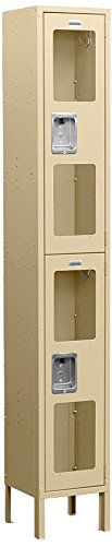 Salsbury Industries Assembled 2-Tier See-Through Metal Locker with One Wide Storage Unit, 6-Feet High by 18-Inch Deep, Tan