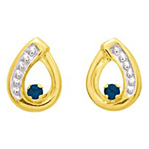 So Chic Jewels - Ladies 18k Yellow Gold Blue Sapphire & Clear Cubic Zirconia Openwork Drop Stud Earrings