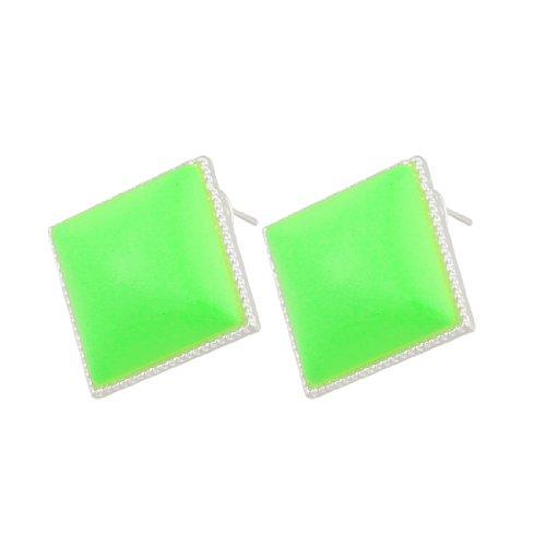 Rosallini Lady Square Green Plastic Earbob Pierced Earrings Pair