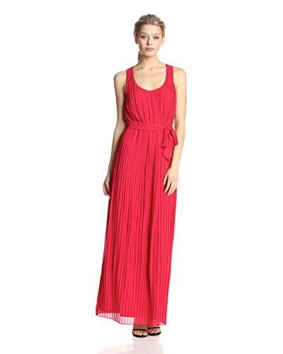 Jessica Simpson Women's Sleeveless Scoop-Neck Pleated Maxi Dress  [Tango Red]