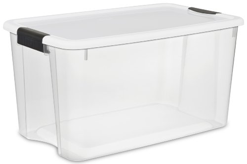 Sterilite 19889804 Storage Boxes,White Lid & Clear Base with Latches,70 Quart/66Liter,4-Pack (Plastic Stackable Containers compare prices)