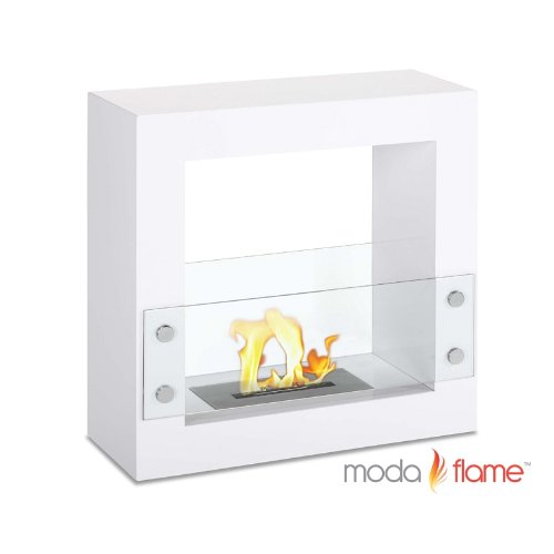 Moda Flame Porta Indoor Outdoor Ventless Bio Ethanol Fireplace White (White Gas Fireplace Ventless compare prices)