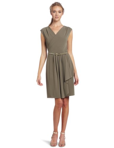 Anne Klein Women's Knit Dress With Skirt Draping