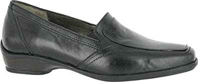 Durea Women's Olympia Slip-on Shoes,Black Leather,10 N US