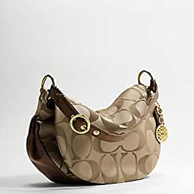 Authentic Coach Ali Signature Sateen Flap Handbag Brass/Khaki/Bronze