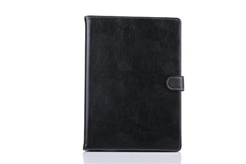 Apple Ipad Air 2 Case Borch Fashion Luxury Genuine Leather Multi-Function Protective Leather Light-Weight Folding Flip Smart Case Cover For For Ipad Air 2 (Black)