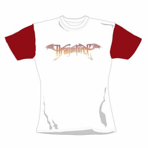 Dragonforce - Girl Shirt Logo Red And White Raglan Shirt (in L)