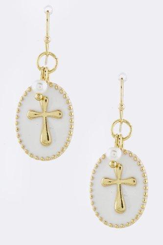 Baubles & Co Cross Dangle Earrings (White) front-216907