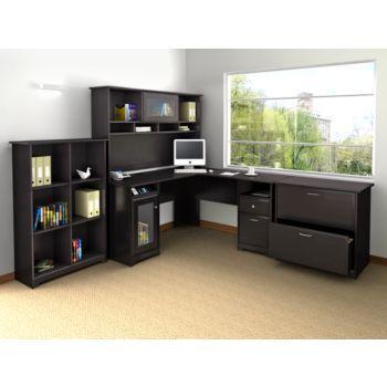 Cabot L-Desk with Hutch, Bookcase and Lateral File in Espresso Oak Finish by Bush Furniture